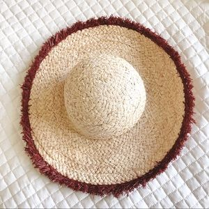 Who What Wear Natural Straw Floppy Hat Rust Trim